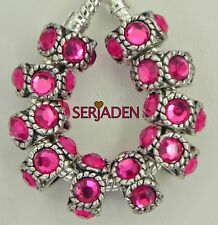 10 Fuchsia Stone Spacer Charm Fits European Style Jewelry 6 * 11 & 5mm Hole R139