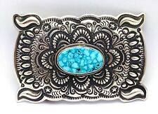 Darryl Becenti Kingman Turquoise Sterling Silver Belt Buckle ~SIGNED~