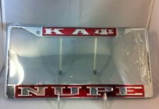 """Kappa Alpha Psi Fraternity """"Nupe"""" Red/ Silver License Plate Frame-New!"""