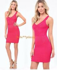 NWT bebe hot pink nude lace sweater maeve v neck bodycon top dress S small sexy