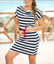 NEW Mapale Espiral 4893 Navy & White Striped Boatneck Nautical Love Dress, Large