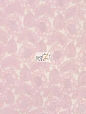 "EXOTIC FLORAL LEAF EMBROIDERY LACE FABRIC - Pink - 52"" WIDTH SOLD BY THE YARD"