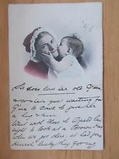 VINTAGE 1908 POSTCARD - SHE DOES LOVE HER OLD GRANNIE - GRANNIE WITH BABY