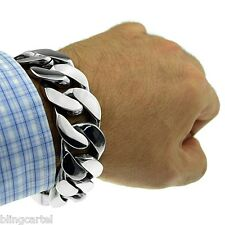 """Heavy Chunky 25mm Wide Cuban Link Chain Stainless Steel Silver 9"""" Mens Bracelet"""