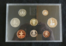 1990 Deluxe Royal Mint UK Proof 8 Coin Year Set Red Leather Case