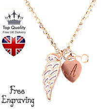 Heart Guardian Angel Personalised Jewellery Necklace Rose Gold Plated UK