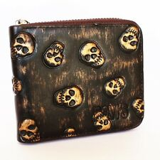 100% Branded, Classic Fine Men Leather Skull Wallet With Zipper ( BOVI'S)