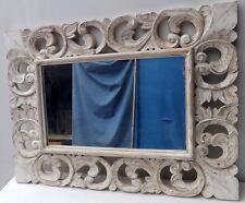 Specchio in legno intarsiato e stagionato cm 80x60 bianco decapato classic model