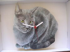 Russian Blue Cat Wall Clock. New & Boxed