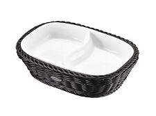 WESTMARK Saleen Tischkorb oval Porzellanschale 2 Fächer L22,5xB16,5X5,5H schwarz