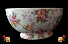 Vintage Royal Winton England Eleanor Chintz China Open Sugar Bowl Footed Round