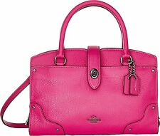 Coach 37779 Mercer 24 Grain Leather Satchel (Dark Gunmetal Cerise Pink)