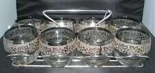 8 DOROTHY THORPE ROLY POLY SILVER FADE GRAPE EMBOSSED LEAVES GLASSES W RACK