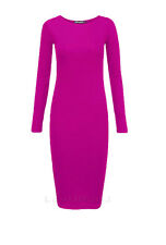 LADIES WOMENS MIDI LONG SLEEVE STRETCH BODYCON PLAIN JERSEY MAXI DRESS PLUS SIZE