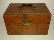 Vintage Vanity Train Case Tan Snakeskin Print Box Luggage Steampunk
