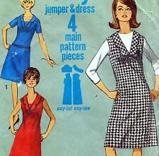 """EASY Vintage 60s Mod DRESS & PINAFORE Sewing Pattern Bust 32"""" Sz 8 Retro JUMPER"""