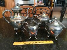 Vintage Rogers Silver Triple Plate Tea Hostess Set Footed Face 4 pc needs TLC