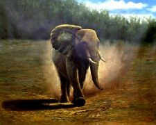 Quality Hand Painted Oil Painting Running Wild Elephant  30x40in