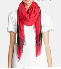 NWT! Coach F85653 Lightweight Woven Windowpane Challis Scarf in Cherry Red