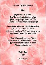 Wedding Day Thank You Gift, Mother Of The Groom Poem A5 Photo