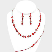 Red bridal jewellery set diamante rhinestone sparkly prom party necklace 0546