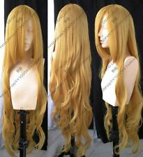 New Long Blonde Cosplay Party Wavy Wig Hair Long:100cm Free Shipping