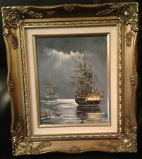 Oil on canvas Two British Sailing Warships in moonlight
