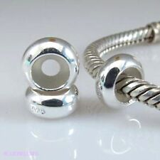 2 x .925 STERLING SILVER Plain STOPPER BEADS For 3mm European CHARM BRACELETS