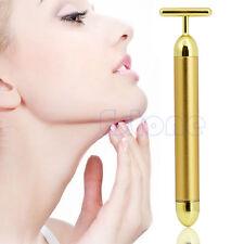 24K Waterproof Golden Pulse Beauty Bar T Shape Facial Roller Massager Skin Care