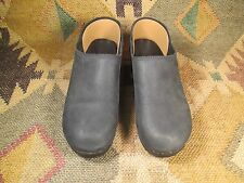 J. Crew Black Leather Upper Wood Sole Clogs Women's 9 M made in USA!!!