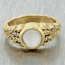 1950s Vintage Antique Victorian Style 14k Solid Yellow Gold Moonstone Band Ring