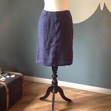 Ladies Navy Linen Skirt By John Lewis Size 10