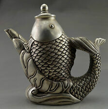 Collectible Decorated Old Handwork Tibet Silver Carved Big Fish Tea Pot gd9979