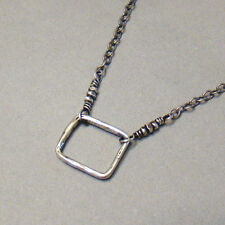 U&C Sundance Oxidized Artisan Square Circle & 925 Sterling Silver Chain Necklace