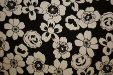 Black White Floral Print #2 Cotton Lycra Twill Apparel Sewing Fabric BTY