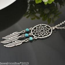 Neu Damen Vintage Halskette Halsschmuck Traumfänger Anhänger Blätter Türkis