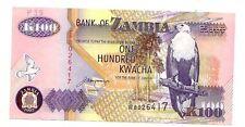 Zambia 100  kwacha 1992     FDS  UNC       pick 38 b      lotto 3596