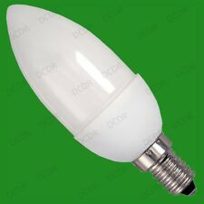 4x 7W Low Energy CFL Micro (96 x 38 mm) Candle Light Bulbs, SES, E14 Screw Lamps
