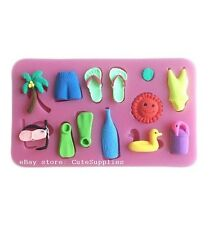 Beach Palm Flip Flops Swimsuit Silicone Polymer Resin Clay Fondant Jewelry Mold