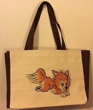 Large Custom Design Drawing Canvas Tote Bag Pomeranian Dog With Bone Earrings