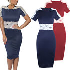 Womens Ladies Celeb Style Bodycon Lace Long Midi Pencil Evening Party Tea Dress