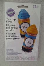 Wilton Treat Pops Labels/Wraps Treats Black and White  12 Count Labels New