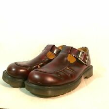 DR DOC Martens Mary Jane T Strap Leather Shoes Cherry Brown 8251 Size 5 UK 7 USA