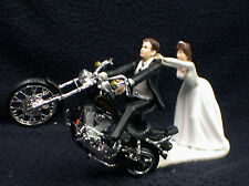 Motorcycle Wedding Cake Topper W/ Black Harley Davidson Funny  Brown hair sexy