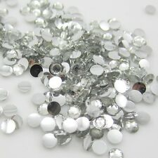 New Diy 800pcs 4mm Facets Resin Rhinestone Gems Flat Back Crystal beads White 1