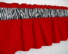 3 inch wide rod pocket ~ Solid Red and Zebra Valance Window Curtain Topper