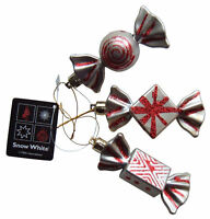 Christmas Tree Baubles Silver & Red Sweet Candy Ornaments, Set of 3 Decorations