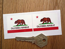 CALIFORNIA REPUBLIC Flag Car Stickers 50mm Pair Bike Californian VW Americana