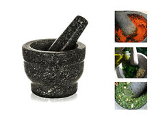 PESTLE AND MORTAR SET NATURAL GRANITE GRINDER CRUSHER GRINDING FOOD HERB SPICE