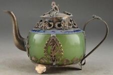 Chinese Collectable Jade  Carving Tibetan silver Dragon TeaPot MONKEY LID